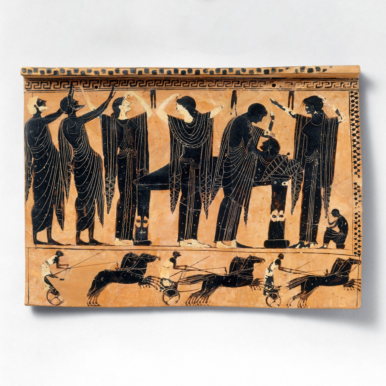 Black figure terracotta of funerary practice in the Archaic period, c. 520 - 510 BC. Held by the Met Museum, Accession Number: 54.11.5