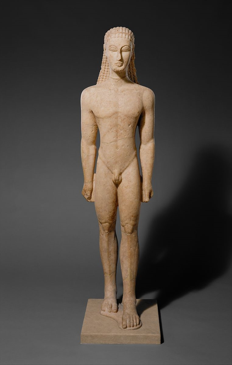 Marble statue of a kouros (youth) ca. 590–580 B.C. Greek, Attic. The Metropolitan Museum of Art