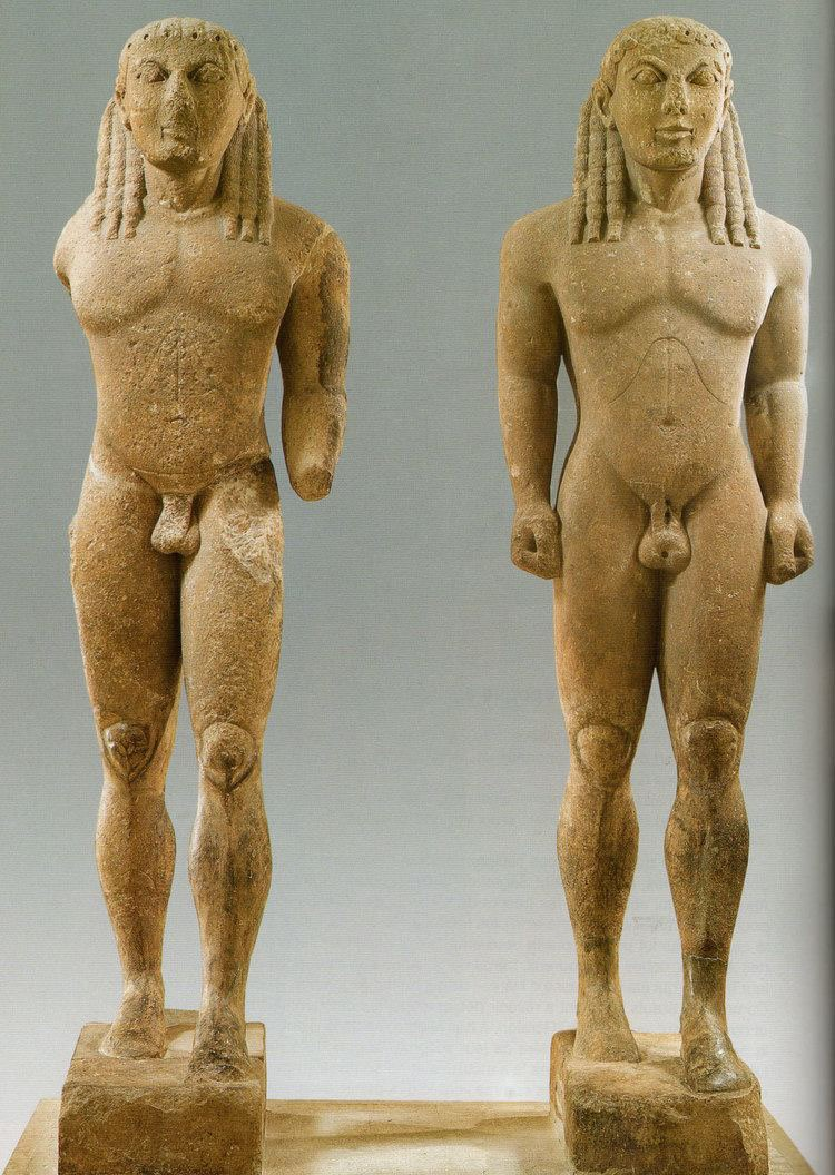 "The twin statues by Polymedes of Argos, conventionally known as ""Kleobis and Biton""."