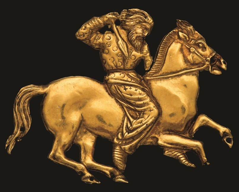 Gold plaque of a mounted Scythian. Black Sea region, c. 400–350 BC. © The State Hermitage Museum, St Petersburg, 2017. Photo: V Terebenin.