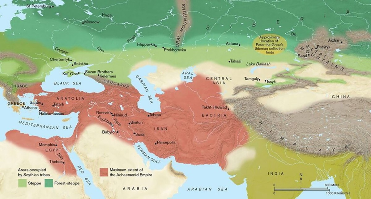 Map of Eurasia, showing the extent of the Achaemenid empire (in red) and the Eurasian steppe and mixed woodland largely occupied by the Scythians (in green) (P. Goodhead).