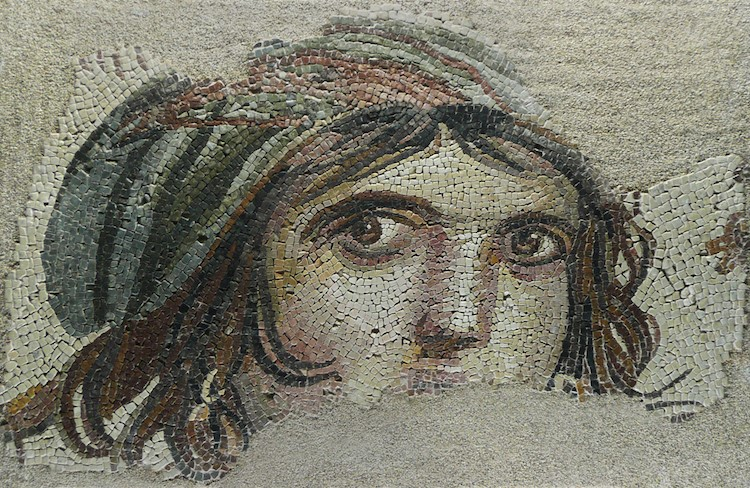 Gypsy woman mosaic dining hall Roman villa.