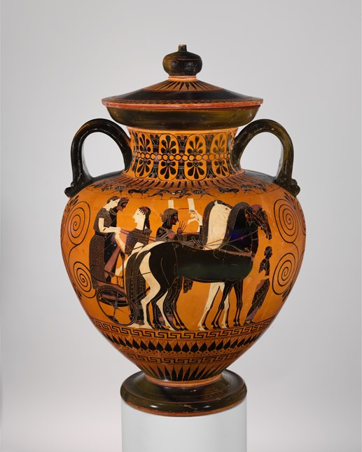 Terracotta neck-amphora (jar) with lid and knob (27.16),ca. 540 B.C. Attributed to Exekias - The Metropolitan Museum of Art