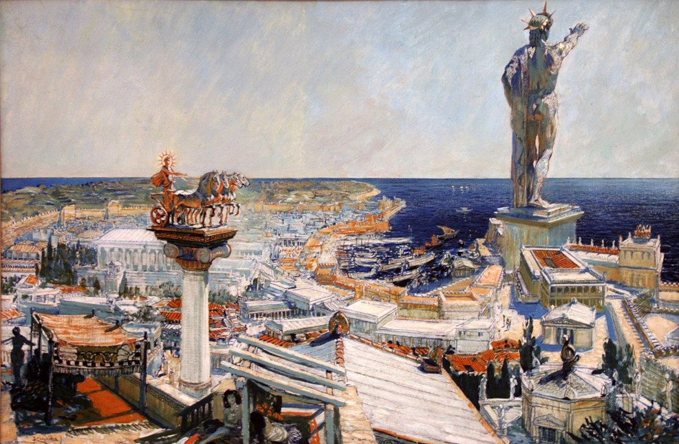 An oil painting representing the ancient city of Rhodes by Frantisek Kupka (1906 CE). Probably a realistic representation of the Colossus of Rhodes which was a gigantic bronze statue, 32 metres high, of the island's patron god Helios, the Sun god. The statue was sculpted by Chares of Lindos, c. 304 BCE and was toppled by the earthquake of 228 or 226 BCE. (Centre for Modern and Contemporary Art, Veletrzni Trades Fair Palace, Prague). Also depicted is a large quadriga or four-horse chariot associated with the god.